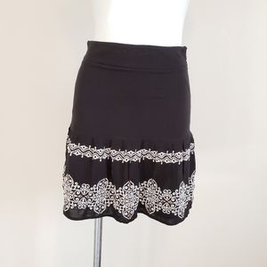 WHBM Black Skirt With Embroidered and Bead Detail